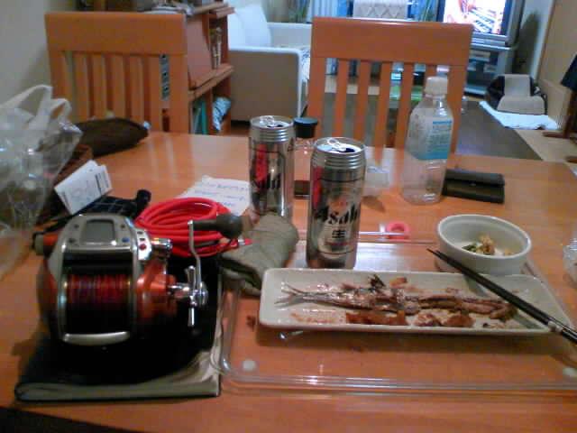 ビールとサンマ焼きとMT750